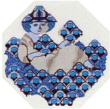 Varenr. 530-6311,03 Broderi pakning Bjørn Wiinblad - Dame med blomster Str. 44 x 44 cm. Broderes med korssting på Hør med 10 tr. pr. cm. efter tællemønster. Pakken indeholder instruktion, stof, mønster, garn og en nål.