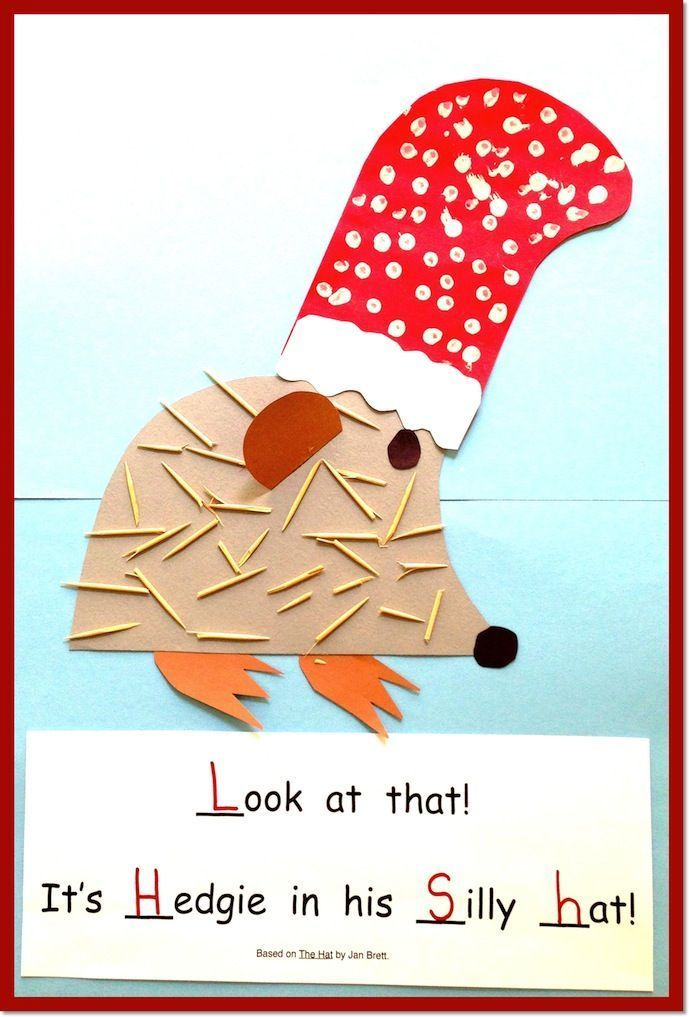 Everyone loves Hedgie! This One-and-Done project is based on Jan Brett's The Hat. The children collage Hedgie and then add toothpicks for his spiny coat! Read one project one day, do one project and you're done!  ($)