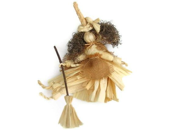 Corn Husk Kitchen Witch Doll Natural