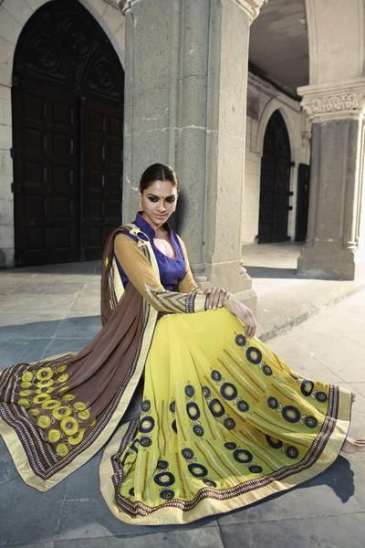 LadyIndia.com #Embroidered Sarees, Yellow& Brown Designer Embroidered Half & Half Saree, Embroidered Sarees, https://ladyindia.com/collections/ethnic-wear/products/yellow-brown-designer-embroidered-half-half-saree