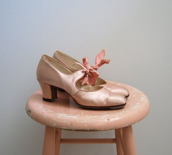 R E S E R V E D-The Alaina- Vintage 1940s JayBee Starlet Pale Pink Satin Tap Shoes 7