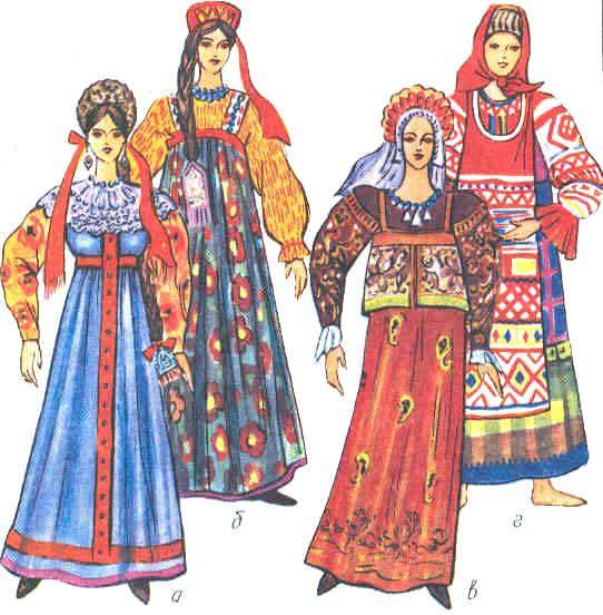 Сарафаны могли быть разного цвета: красные, синие, коричневые