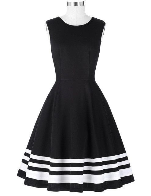 Belle Poque 2017 Retro Vintage Sleeveless Black White Print 50s 60s Vintage Dresses Audrey Hepburn Plus Size Womens Clothing