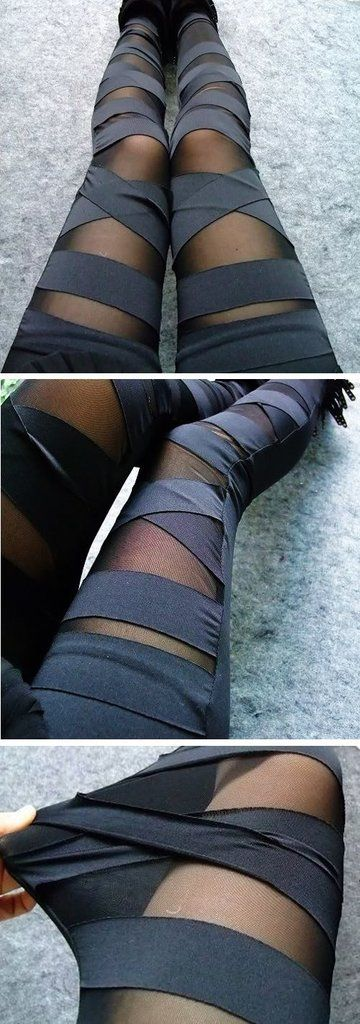 Show off your edgy side this autumn in these bandage styled mesh leggings. Mid-waist and ankle length, wear with your favorite chunky sweater and floppy hat! Made with cotton and polyester. One Size.