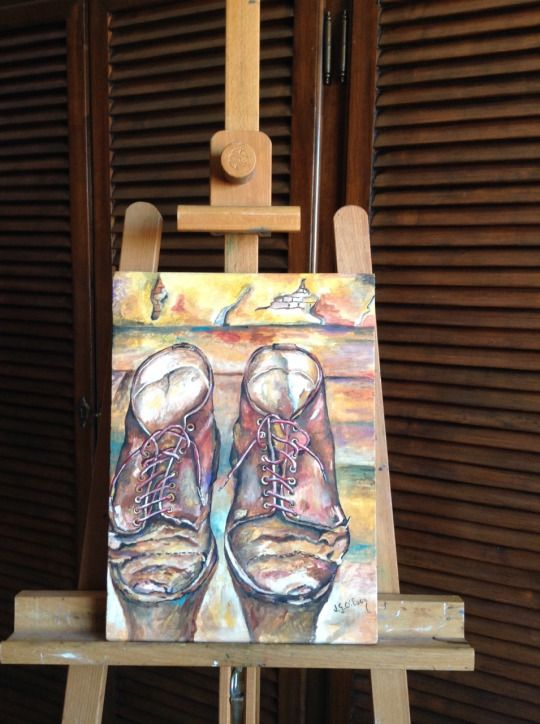 Shoes by Jg Wilson  oil on wood  www.jgwilsonart.com