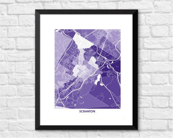 Scranton Pennsylvania Map Art  |  Share your love for Scranton --the iron and steel capital on Pennsylvannia -- with city art for your home or office All art maps are printed on high quality, ultra-premium presentation paper using archival chrome inks. map art, map print, abstract art, scranton map art, scranton map print, wall art, city art, city print, scranton pennsylvania