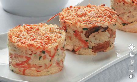 Receta del día... Molde gratinado de arroz con pollo, champiñones y jamón York, una receta para llenar de estilo su mesa