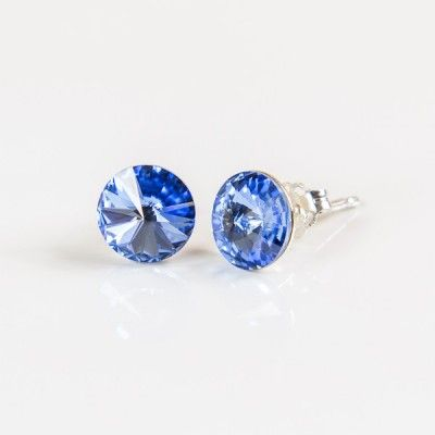 Swarovski Rivoli Earrings 6mm Light Sapphire  Dimensions: length:1,4cm stone size: 6mm Weight ~ 0,70g ( 1 pair ) Metal : sterling silver ( AG-925) Stones: Swarovski Elements 1122 SS39 ( 1122 6mm ) Colour: Light Sapphire 1 package = 1 pair Price 7.49 PLN( about`2 EUR)
