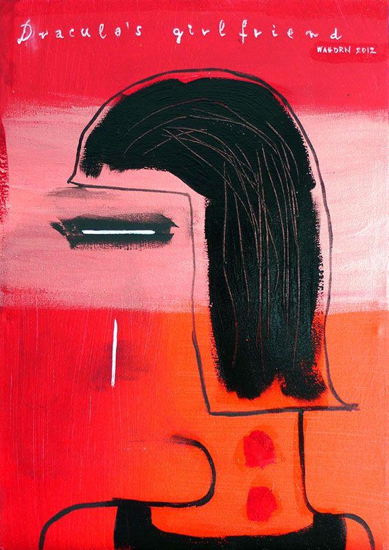 Dracula's girlfriend - Drakula Barátnője  32x45cm acryl on canvas