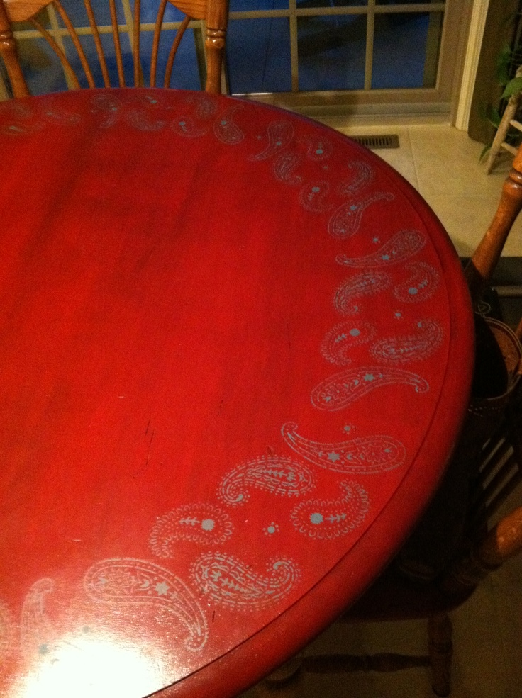 Painted my old kitchen table red with stain overtop of the red, then stenciled teal paisley border around the edge. I put another coat of stain over the teal paint to soften the color. You have to let the stain dry for about 2 days! Don't touch it because it stays tacky for about 48hrs.