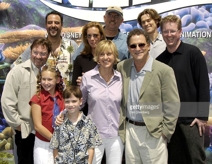 Actress Ericka Beck, Actor Ellen De Generes, Actor Albert Brooks, director Andrew Stanton, (L-R, back row) actor Stephen Root, actor Brad Garrett, actress Elizabeth Perkins, actor John Ratzenberger and actor Willem Dafoe arrive at the premiere of 'Finding Nemo' at the El Capitan theatre on May 18, 2003 in Hollywood, California.