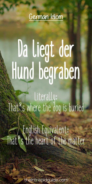 German Idioms Da liegt der Hund begraben