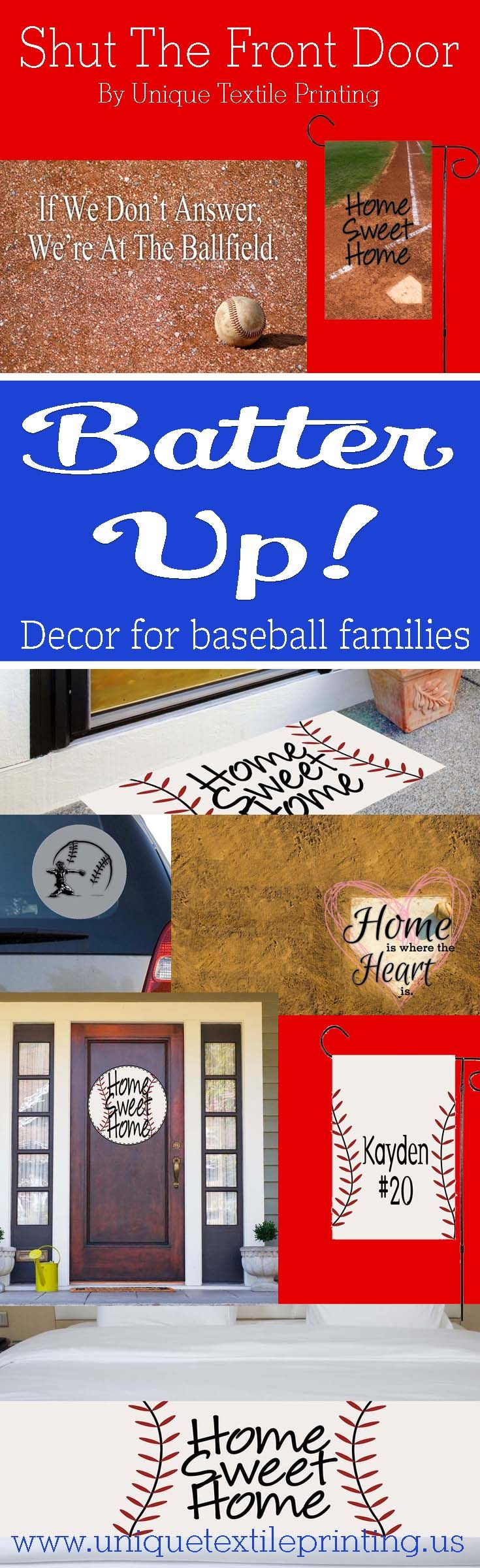 Baseball Decor to get you pumped up for the season.   Outdoor and indoor decor that can be customized for your ball player.  Do you travel for tournaments?  We have stickers for the entire team to travel in style. Show off your baseball spirit with these products! Batter Up
