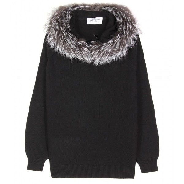 Yves Saint Laurent Knit Hoddie With Fur Trim (5.565 BRL) ❤ liked on Polyvore featuring tops, sweaters, women, yves saint laurent, long sleeve tops, batwing tops, long sleeve knit top and long sleeve batwing top