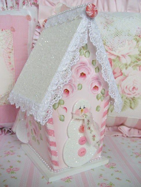 Cute pink shabby chic birdhouse.