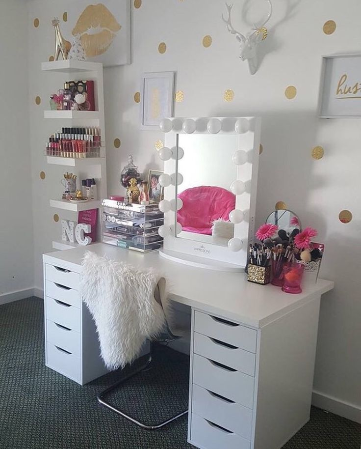 So refreshing    Who else is loving this white and gold glam room  space  features our and IKEA Alex drawers and Linnmon table topTop 25  best Makeup vanity desk ideas on Pinterest   Vanity desk  . Makeup Vanity With Lots Of Storage. Home Design Ideas