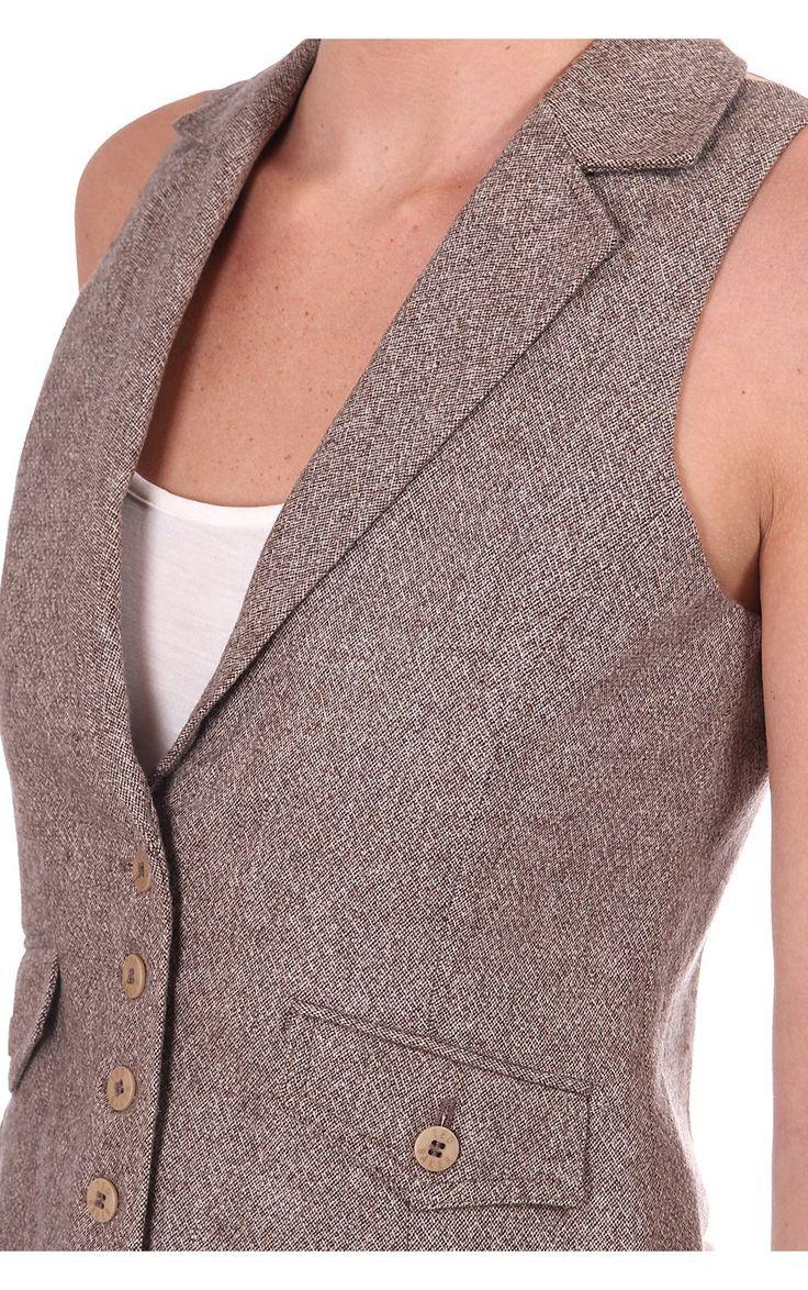 Ted Baker Womens Tweed Waistcoat Brown