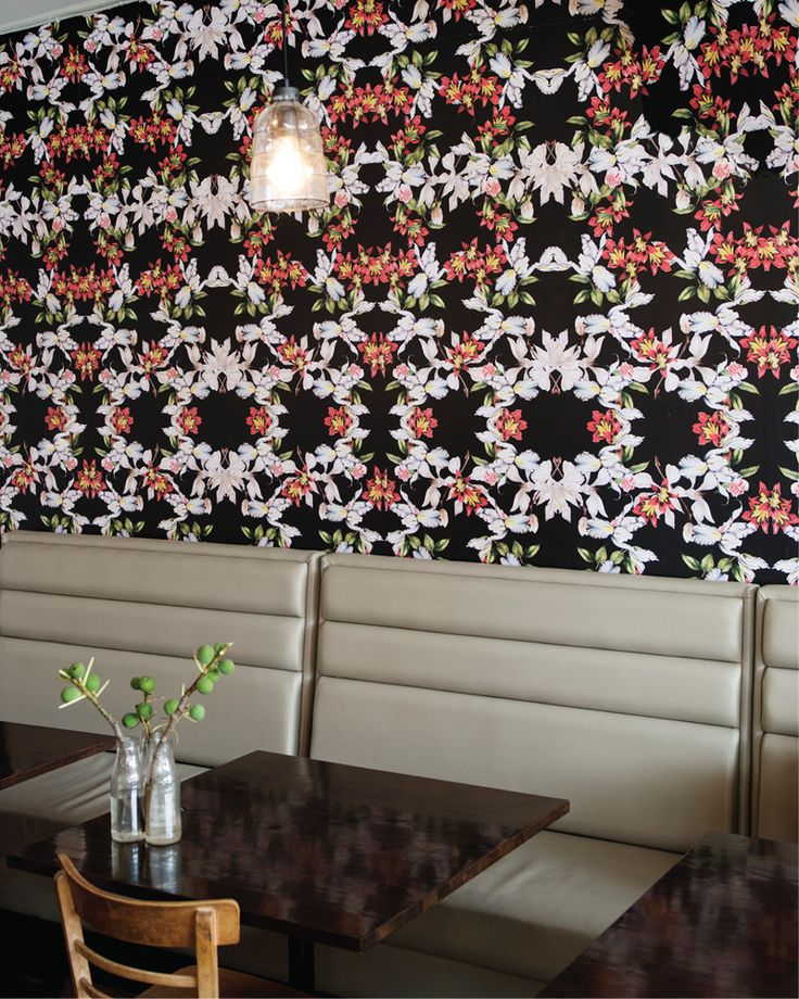 Iris and Roses wallpaper has been used to great effect at the Bendigo Street Milk Bar. Image by Georgina Matherson