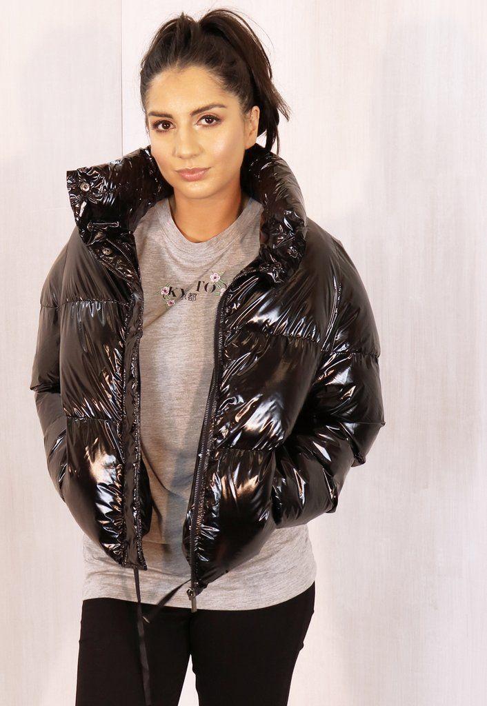 Cropped Padded Shiny Vinyl Puffer Jacket With Funnel Neck In Black One Nation Clothing Puffer Jacket Women Fashion Shiny Jacket