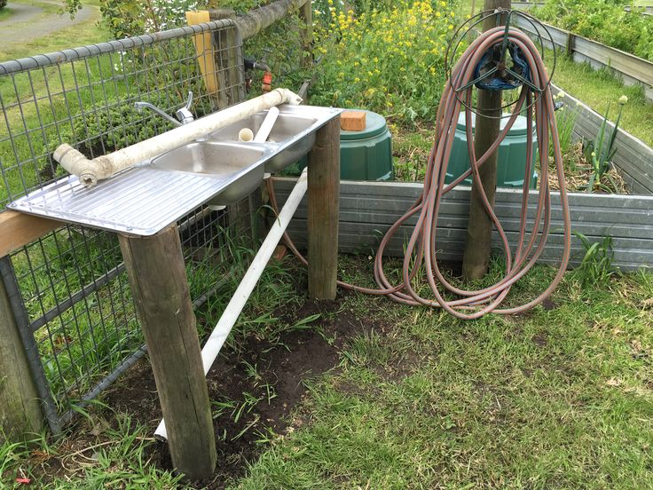 Veggie garden sink to rid the root veg of dirt before they come into the kitchen. Recycle repurpose reuse!