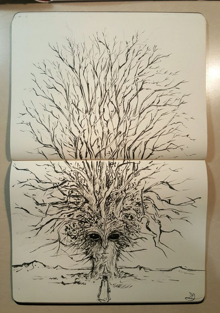 Conversation with a Witchtree  Brushpen sketch