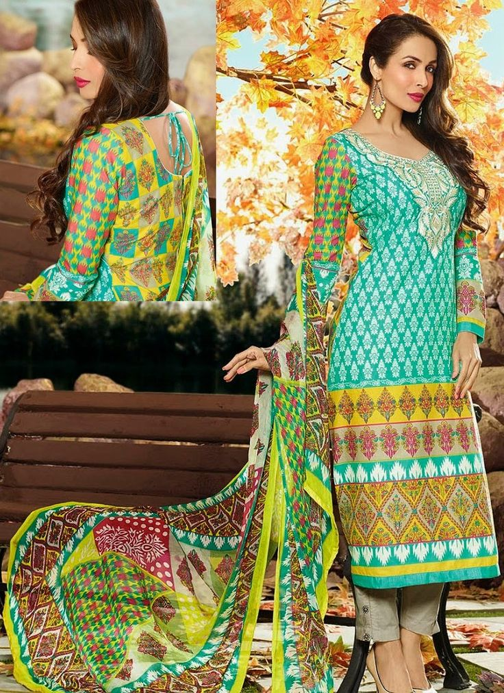 Green Voguish Cotton Palazzo Printed Suit