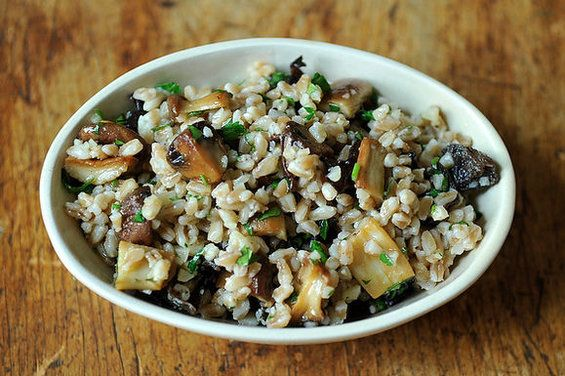 Farro Salad with Roasted Mushrooms and Parmesan: Farro Salad, Mushrooms Recipe, Whole Grains Recipe, Parmesan, Yum, Roasted Mushrooms, Wild Mushrooms, Healthy Recipe, Food Recipe