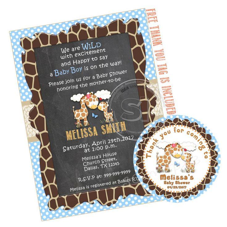 Custom Giraffe Theme Printable Baby Shower Invitation with FREE Thank you Tag-DIY Digital File-You Print by StudioIdea on Etsy