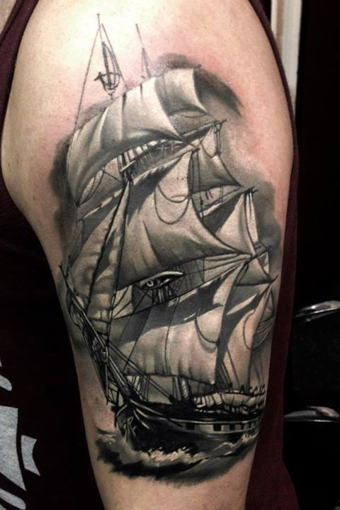 Tall ship tattoo | Tats n Tales | Pinterest | Ship tattoos ...