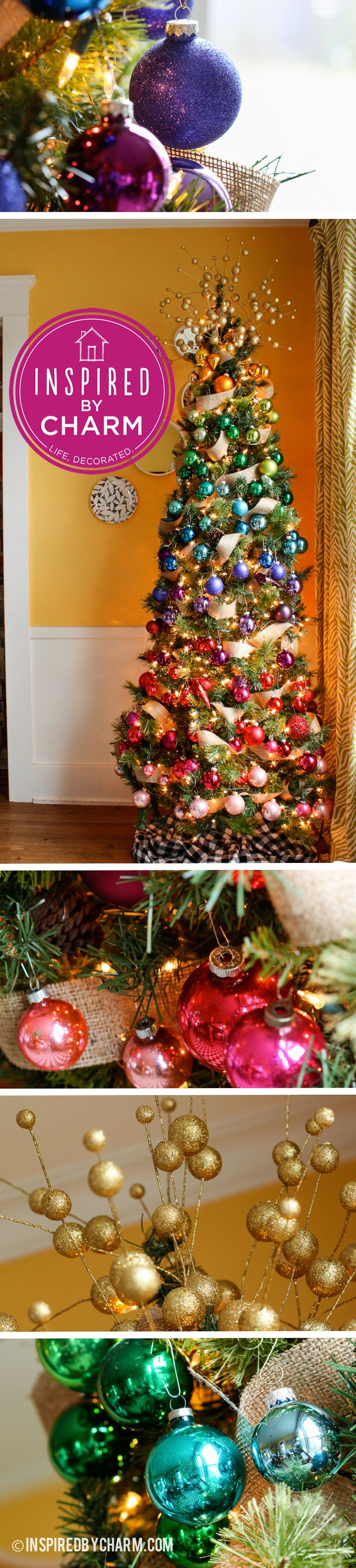A gradient-inspired rainbow Christmas tree by Michael Wurm, Jr of Inspired by Charm!  See it here: http://www.inspiredbycharm.com/2012/12/12-days-of-christmas-day-6-tree-of.html