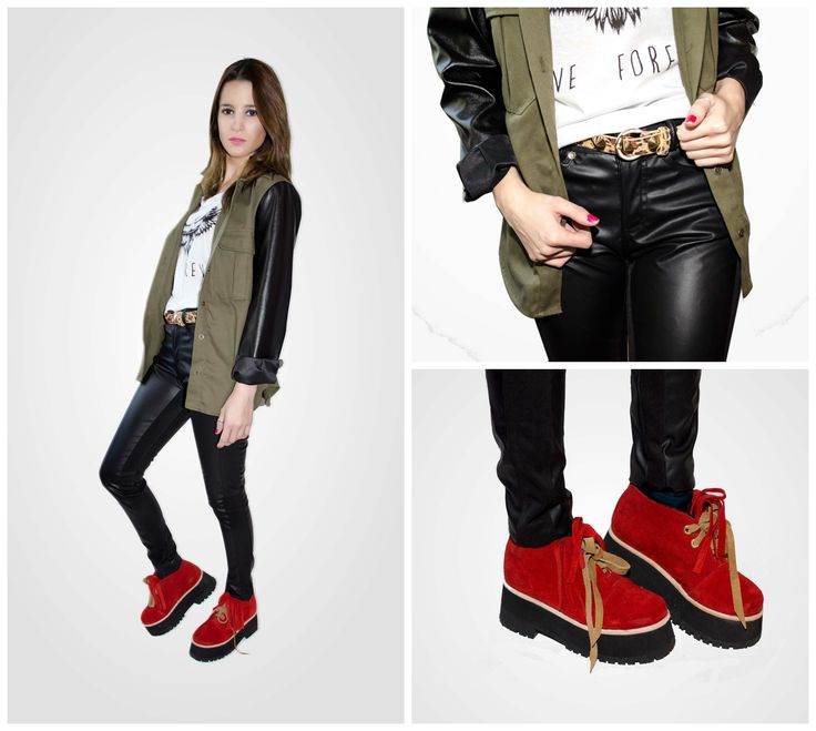 ★ LOOK OF THE DAY 23-07-2013   · Campera Militar con Mangas de Cuero · Remera Eagle · Pantalon Punto Roma y Cuero · Gipsy Boots Rojas  ----------------------------------------------------------------  · Military Sleeved Jacket · Eagle Tee · Leather Black Pant · Red Gipsy Boots