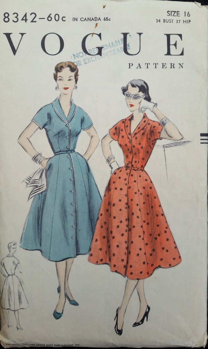 Product PTVG8342 Vintage 1954 Vogue sewing pattern for one piece dress, easy to make Gored skirt has pockets in side seams and joins the bodice at waist-line. Full length buttoned closing at centre-fr