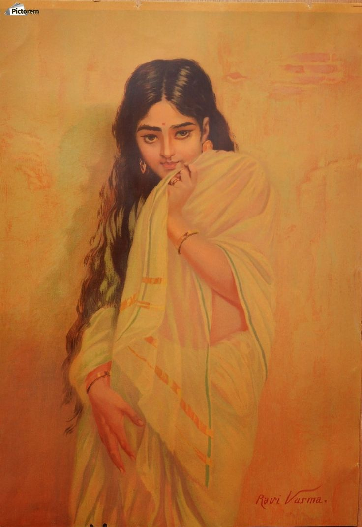 Young Indian girl , Raja Ravi Varma ,