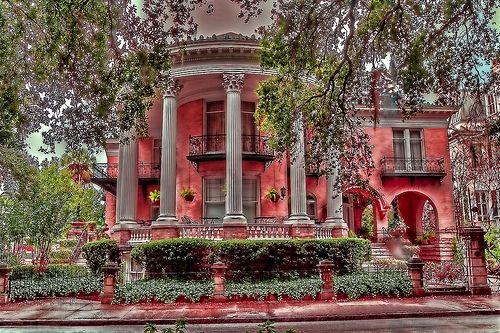 beautiful old houses: Beautiful Houses, Beautiful Old Houses, Beautiful Homes, Pink Houses, Places, Southern Home, Red Houses, Savannah Georgia, Popular Pin