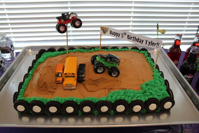 My son LOVES monster trucks!!! So his 5th birthday party had to be a Grave Digger theme!!      Front of his invitation.      While doing r...