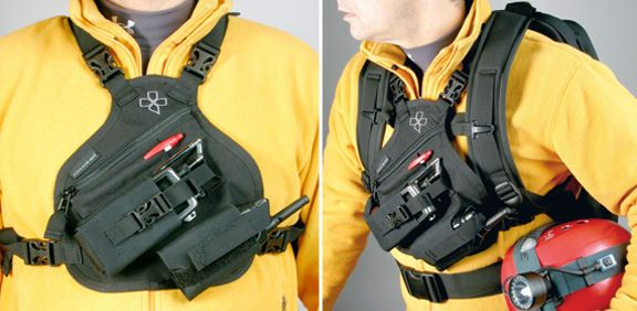 Easily wear the Coaxsher RP-1 Scout Radio Chest Pack with the Coaxsher FS-1 Ranger Wildland Fire Pack or the SR-1 Endeavor Search and Rescue Pack.   Wear it with the straps or use the Harness Converter Kit to attach it directly to your pack.