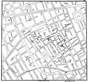Original map by John Snow showing the clusters of cholera cases in the London epidemic of 1854. The pump is located at the intersection of Broad Street and Cambridge Street (now Lexington Street).