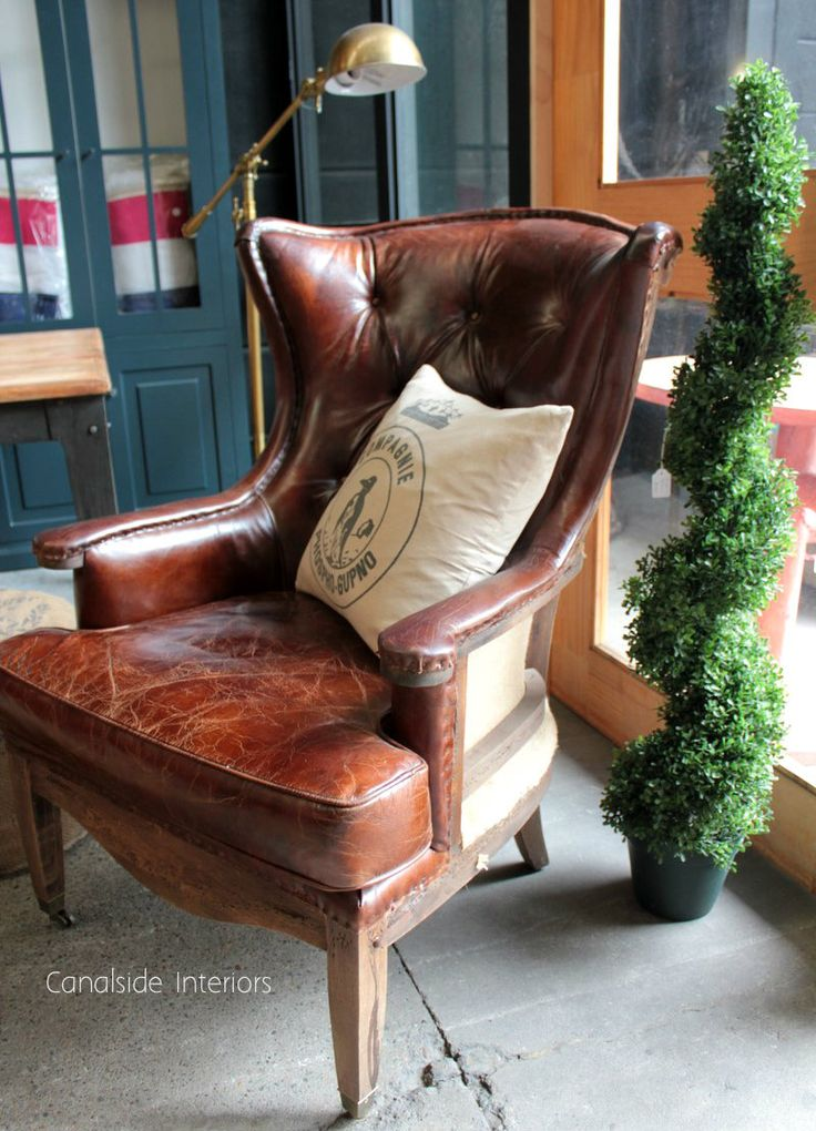 Deconstructed Aged Leather Wingback Armchair - Canalside Interiors