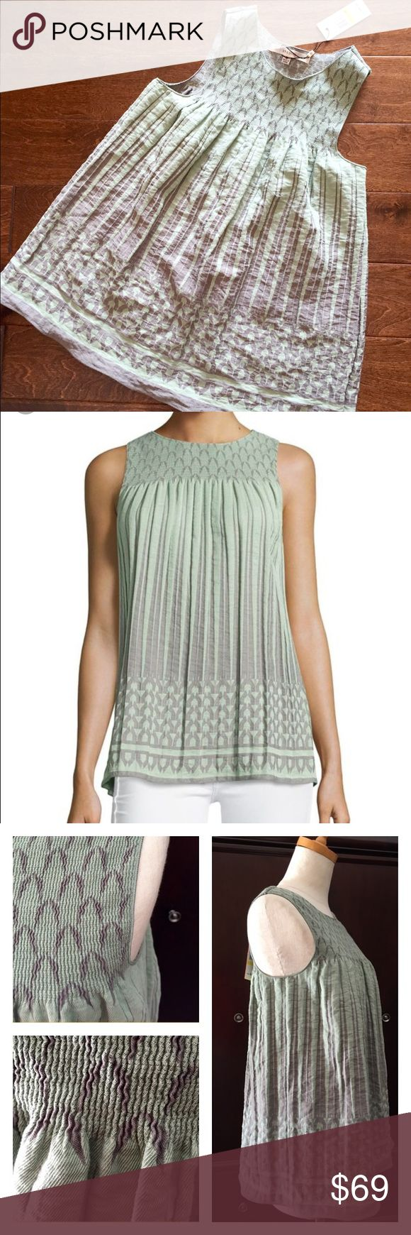 Green Smocked Jacquard Top Max Studio Medium  Beautiful Green and gray smocked jacquard A-line tank from Max Studio Nordstrom's. I love this top but it's too long for me. Size medium. Max Studio Tops Tank Tops