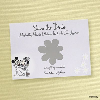 First Dance Save the Date Scratch Off to reveal your wedding date! Full line of Disney at Quaint Wedding Stationery.