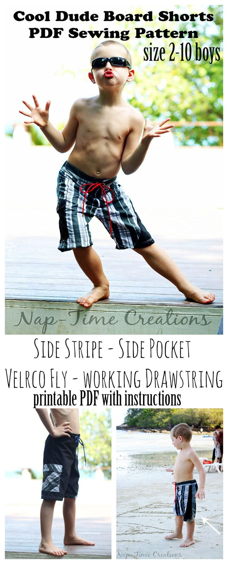 Cool Dude Board Shorts Sewing Pattern - Nap-time Creations