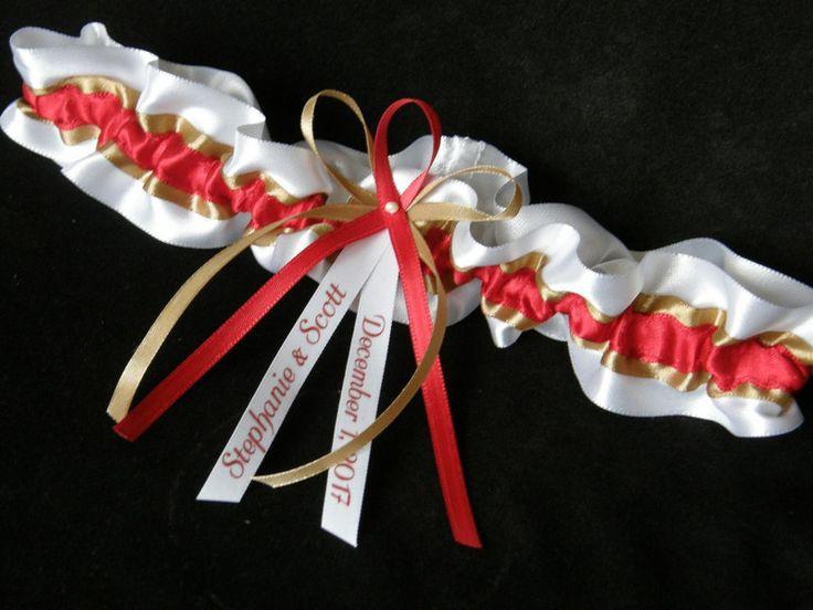 Strumpfbänder - Strumpfband Namen Datum gold/rot/weiss - ein Designerstück von Candelita123 bei DaWanda