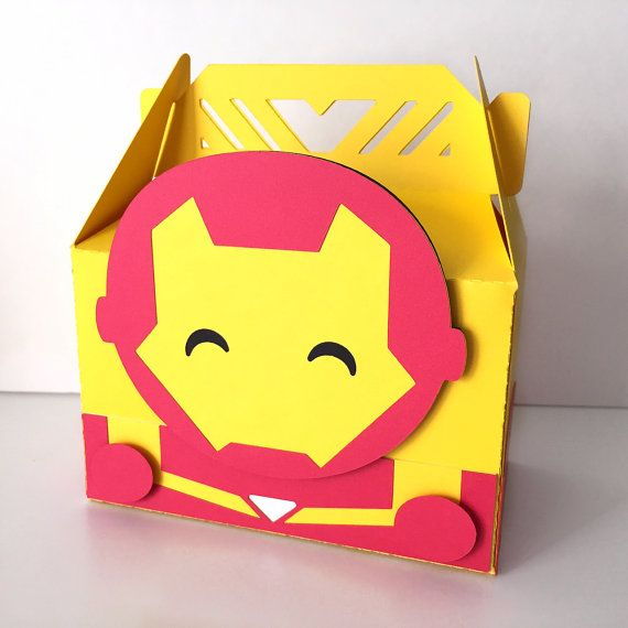 Adorable Avengers themed party favor boxes. Iron Man.