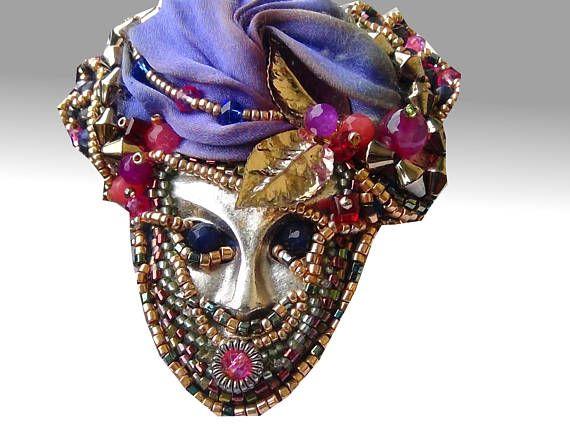 Bead Embroidery Brooch-  Spilla di perline | Embroidery mask - Maschera | Silk Shibori Ribbon - Seta Shibori|
