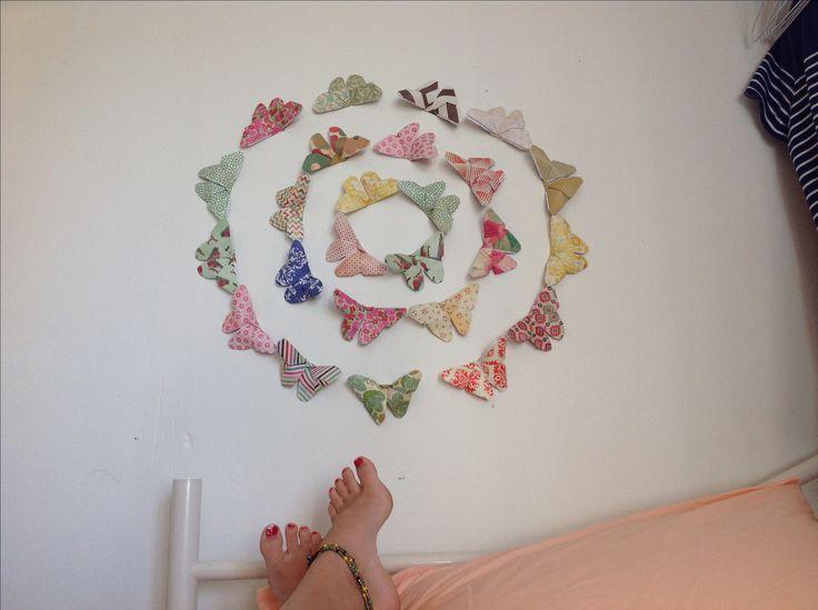 Origami butterflies for bedroom wall