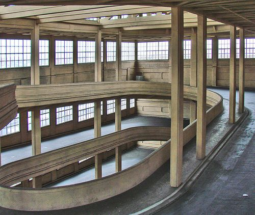 The Fiat Lingotto factory in Turin (built 1923); looks just like the parking garage in Venice that we had to park our fiat van in......very scary! :)