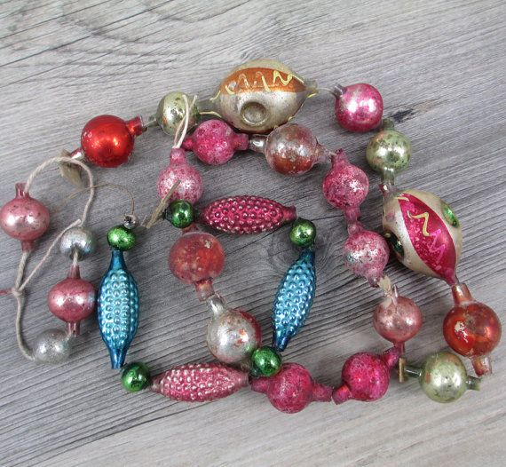 Antique German Japan Glass Garland Beads by hauntedlampvintage
