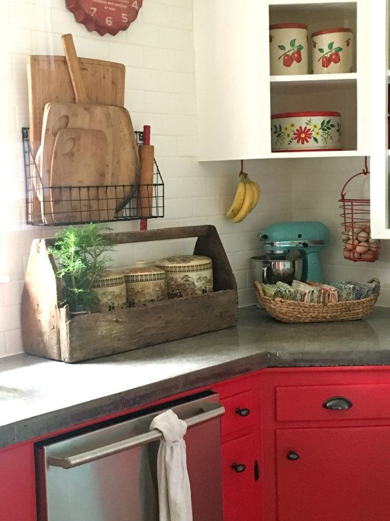 Large Vintage Wooden Tool Caddy Rustic Farmhouse Organizer Centerpiece Storage…