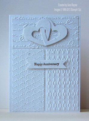 Textured wedding anniversary card - Stampin' Up! ••. Try making hearts and banner white.