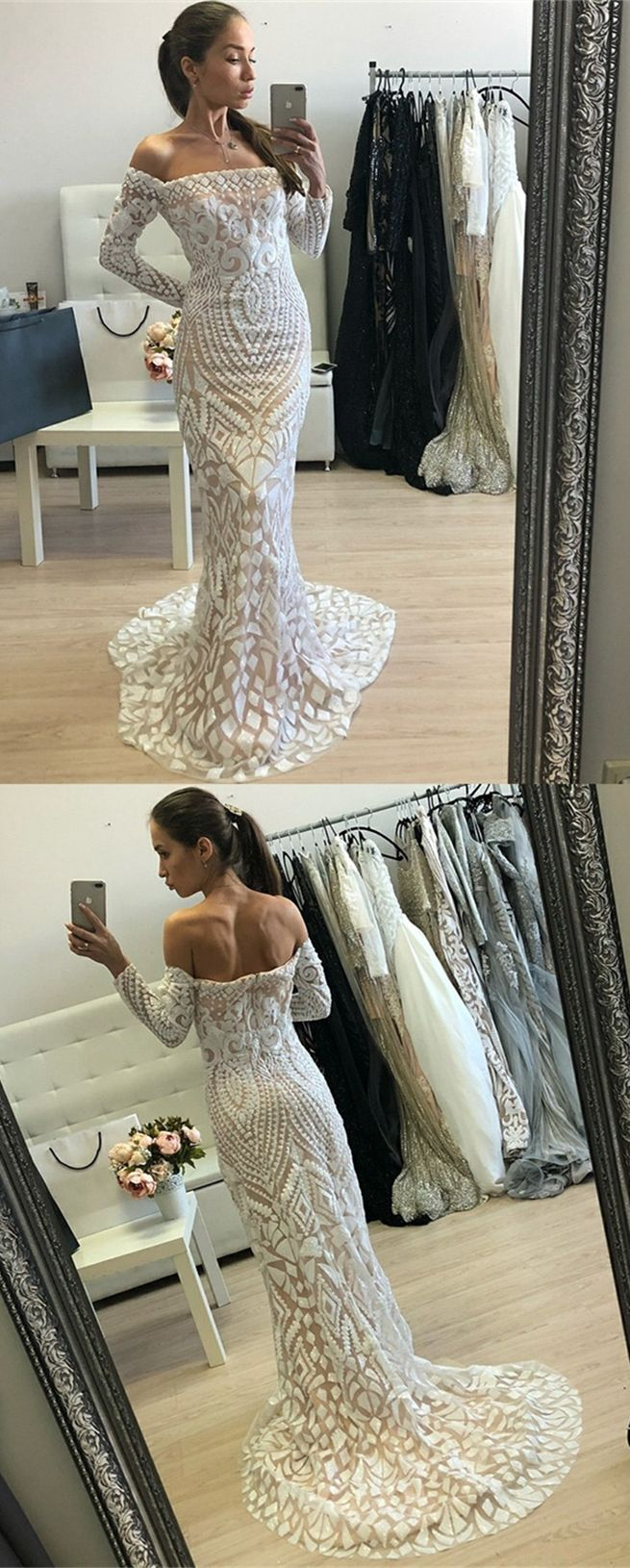 Mermaid offtheshoulder long sleeves white lace prom dress in